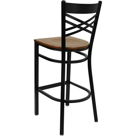 bar stools cherry wood black x back metal restaurant barstool with cherry