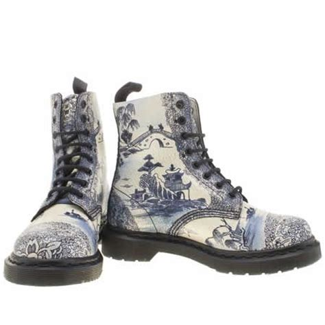 blue pattern dr martens womens dr martens white navy pascal 8 eye boot willow