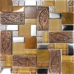 Copper Backsplash Tiles For Kitchen Sle Copper Metallic Leaf Decor Insert Glass Mosaic Tile Kitchen Backsplash Ebay