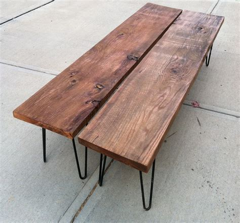 bench with hairpin legs rustic modern wood bench mid century modern hairpin legs