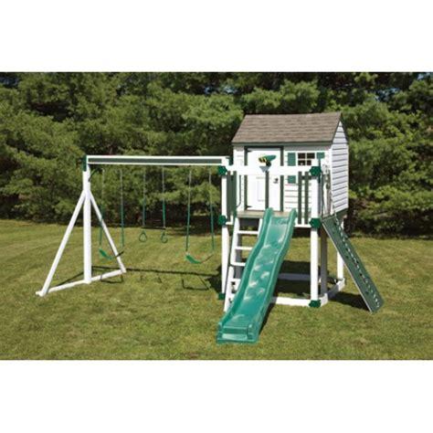 white swing set swing kingdom c4 hideout playhouse vinyl swing set in
