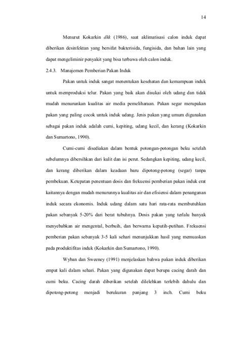 Pakan Induk Udang Vaname 101142739 teknik dan analisa usaha pembenihan udang vaname