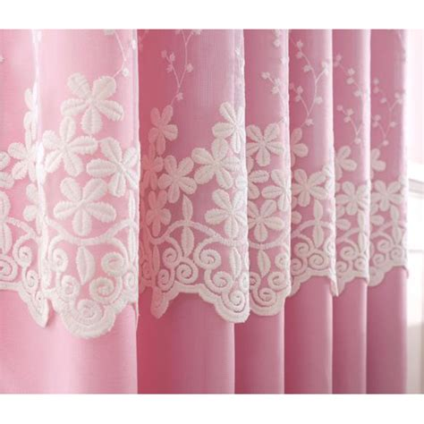 Pink And Beige Curtains Decor Pink And Beige Lace Embroidery Polyester Curtains