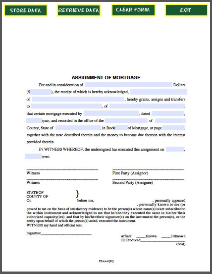 assignment of mortgage template assignment of mortgage notice not to renew