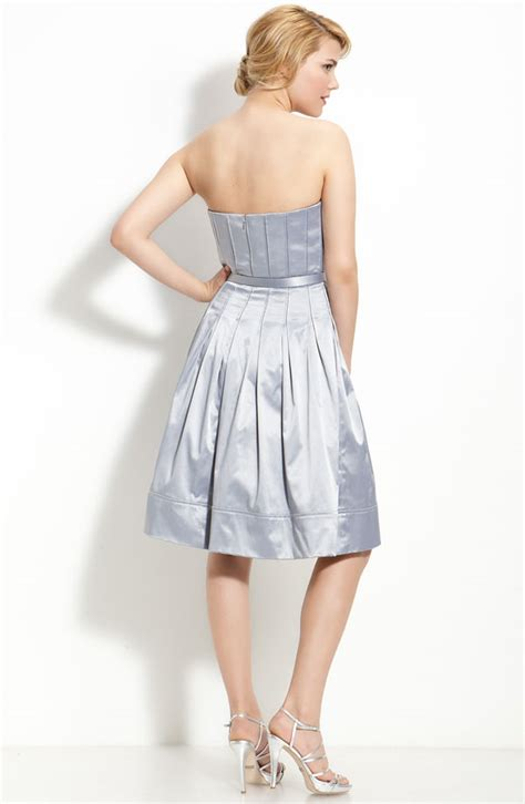 a line strapless sweetheart zipper knee length silver prom