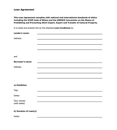 10 Sle Standard Loan Agreement Templates Sle Templates Personal Loan Contract Template