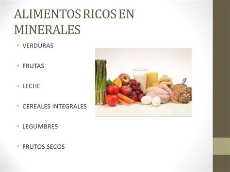 alimentos que contienen sales minerales alimentacion uno es lo que come ppt descargar