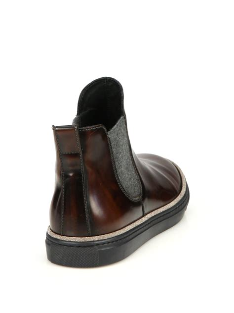 brunello cucinelli beatle leather stretch boots
