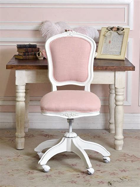 pink linen office chair for all my girly
