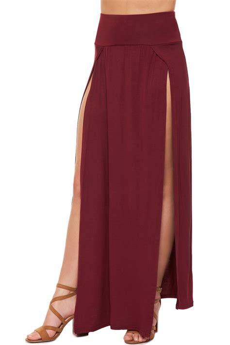 Side Slit womens split maxi skirt plain basic