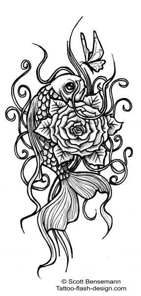 koi rose tattoo a tattoo design by scott bensemann featuring a koi fish