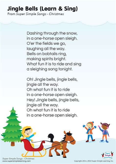googlechristmas songs for the kindergarten lyrics poster for quot jingle bells quot song from simple learning kidssongs
