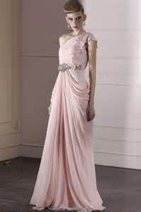 beautiful couture light pink one shoulder bridesmaid dress