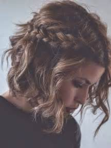 Messy braided hairstyle for short curly hair via