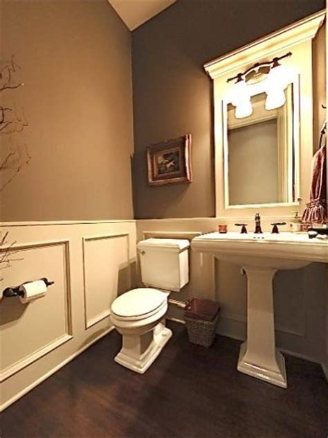 half bath with 2 tone paint for the home pinterest calgary powder room design ideas pictures remodel and decor