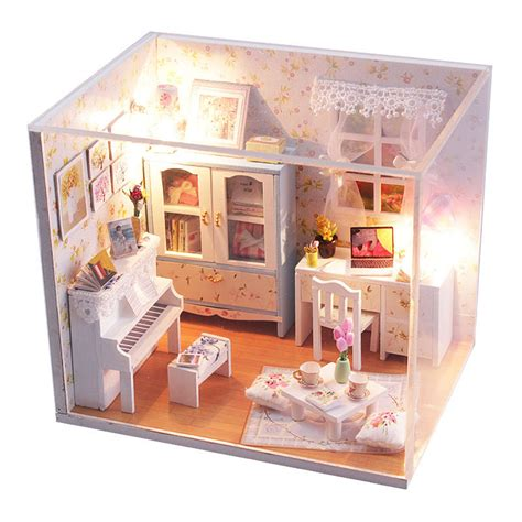 doll house miniatures new kits diy wood dollhouse miniature with led furniture cover doll house room ebay