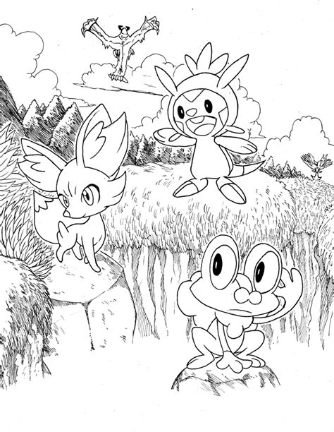 Pokemon X And Y Starters Lineart By Matsuyama Takeshi On Coloring Pages X And Y