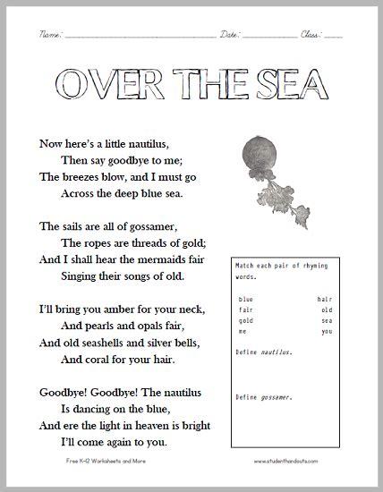 Quot Over The Sea Quot Poem Worksheet Student Handouts