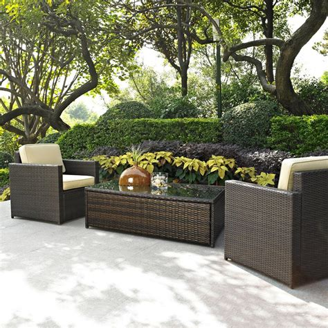 Shop Crosley Furniture Palm Harbor 3 Piece Wicker Patio Lowes Wicker Patio Furniture