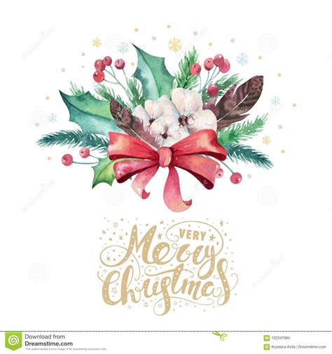 merry christmas watercolor bouquets card with floral