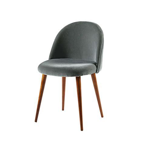 Stuhl Samt stuhl aus anthrazitfarbenem samt und massivbirke