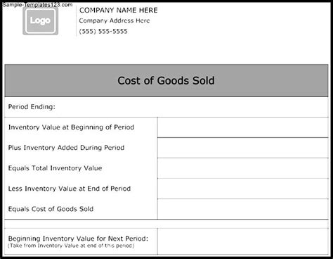 cost of goods sold template cost of goods sold form template sle templates