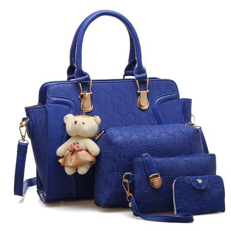 Tas Tangan Wanita Leopard Import jual tas tangan wanita import new satu set 4 in 1 warna blue biru harga murah surabaya oleh pt