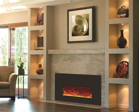 built in wall mount fireplaces with mantle design