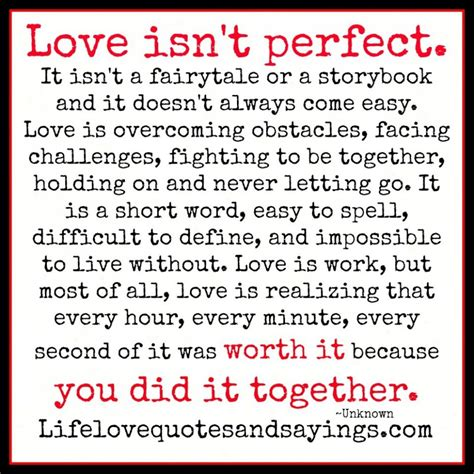 love themes and quotes love quotes love is not perfect a quote about perfect