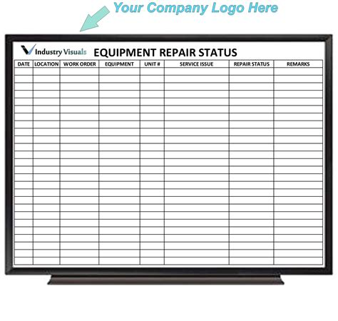 service gear erase equipment repair status board industry visuals
