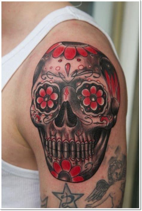 sugar skull shoulder tattoo sugar mexican black sugar skull on shoulder