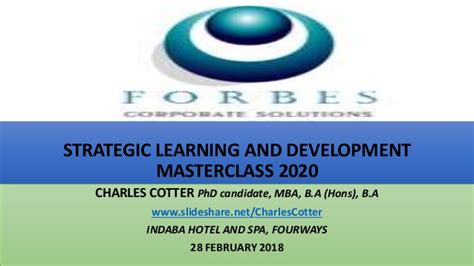 Mba Strategic Learning by Strategic Learning And Development Masterclass 2020