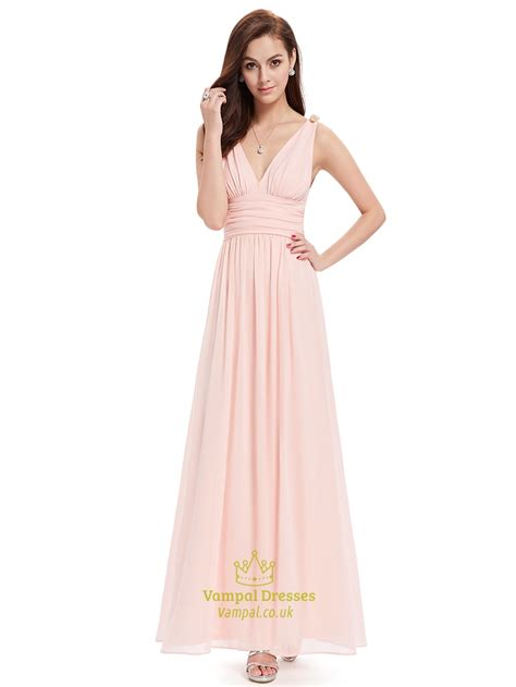 V Neck Dress Pink light pink v neck chiffon bridesmaid dress with