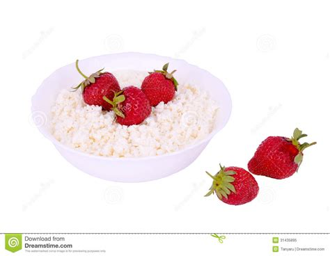 Cottage Cheese And Strawberries by The Plate With Cottage Cheese And Strawberries White