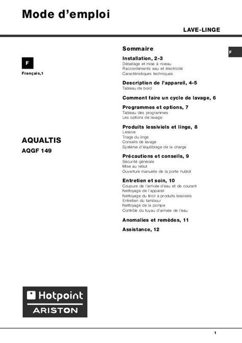 Four Grande Capacité Encastrable 3815 by Notice Lave Vaisselle Hotpoint Ariston Aqgf 149 Et Pi 232 Ces