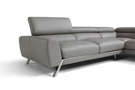 Grey Leather Reclining Sectional Mood Reclining Sectional Sofa In Grey Leather By J M