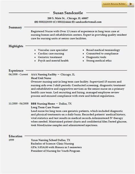 Great Nursing Resumes by Excellent Nursing Resume Template Resume Template