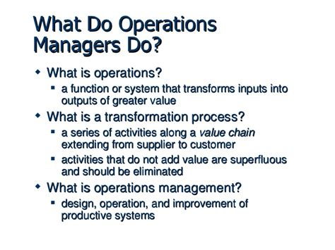 operation management operations management