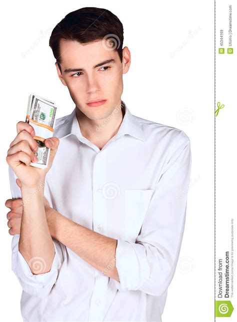 man holding young man holding two bundle us 100 dollars bank notes