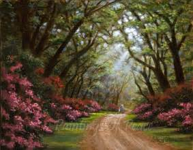 landscape path painting trees flowers pathway of peace