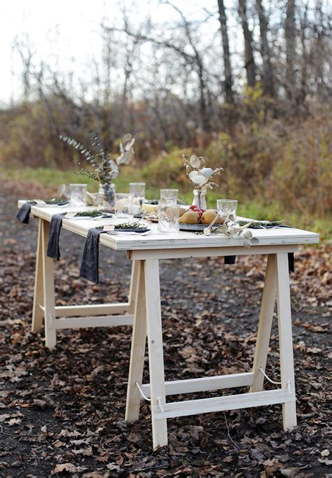 diy table with sawhorse legs diy sawhorse leg plywood table 187 the merrythought