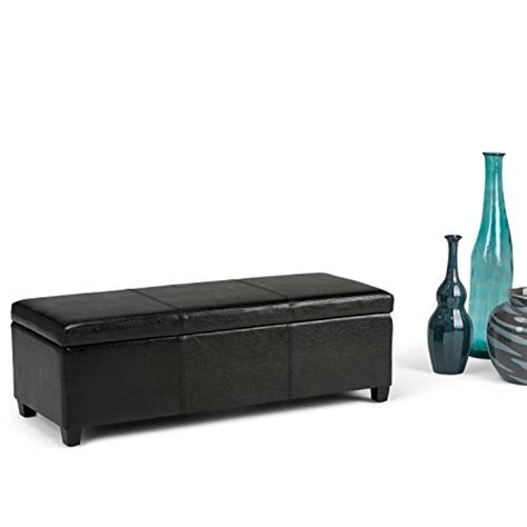 simpli home avalon large storage ottoman simpli home avalon rectangular faux leather storage