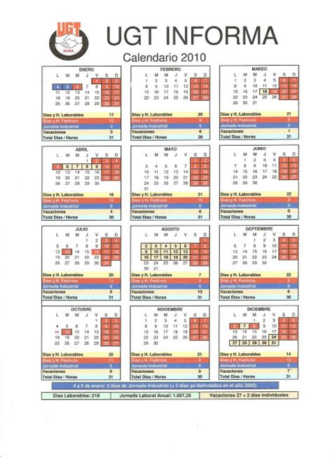 U De G Calendario Seccion Sindical U G T Dura Calendario Laboral A 209 O 2 010