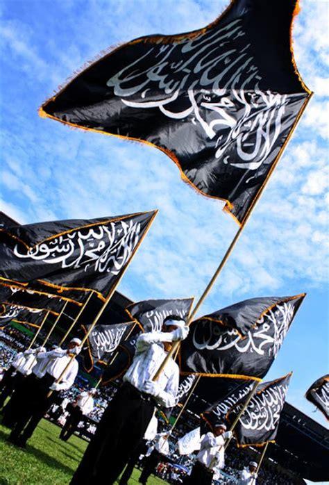 2 Lembar Bendera Tauhid Panji Islam Rayah Liwa Murah Bonus Pin Ganci 2 kibarkan bendera islam panji tauhid islam bendera