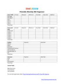 home finance bill organizer template 8 best images of home finance printable bill organizer