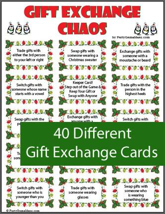 printable christmas exchange games gift exchange chaos printable holiday game