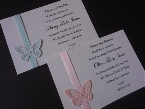 Handmade Invites - 10 christening baptism handmade invitations with