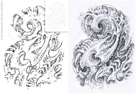 biomechanical tattoo step by step guy aitchison original art collaborative other media