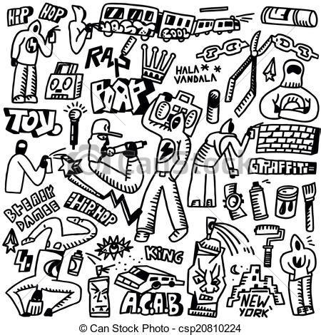 Line Grunge Swag Hiphop rap hip hop graffiti doodles set rap hip hop graffiti