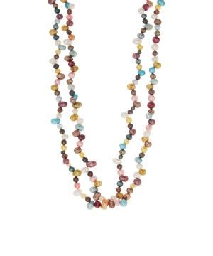 aquamarines freshwater pearls figaro chain bib necklace